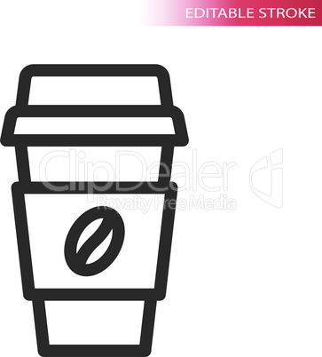 Coffee to go thin line vector icon