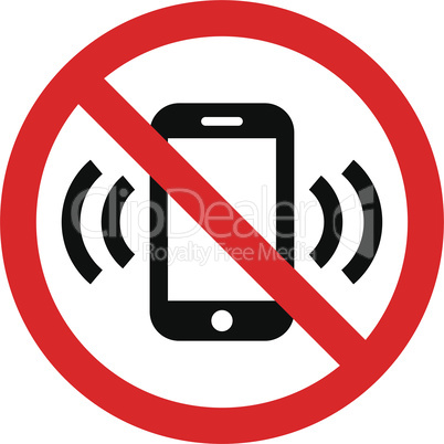 No phone red prohibition vector sign