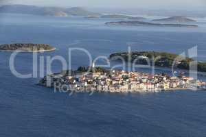 Adriatic tourist destination of Primosten aerial panoramic archipelago view, Croatia