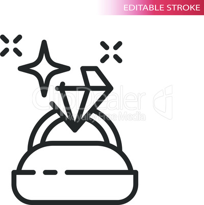 Diamond ring in a box thin line vector icon