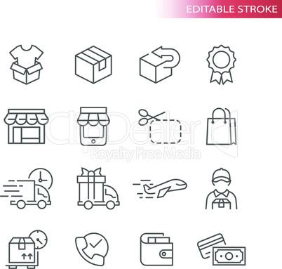 E-commerce thin line vector icon set
