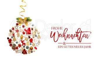 Christmas Ball, Decoration And Ornament, Frohe Weihnachten Means Merry Christmas