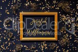Frame, Golden Glitter Christmas Decoration, Willkommen Means Welcome