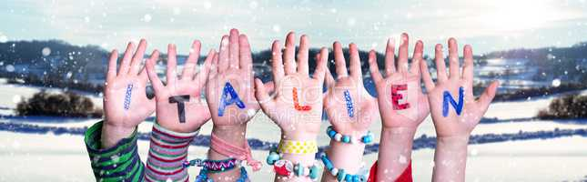 Children Hands Building Word Italien Means Italy, Snowy Winter Background