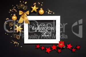 Frame, Red And Golden Christmas Decoration, Glueckliches 2021 Means Happy 2021