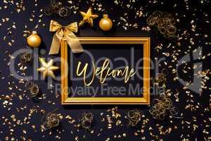 Frame, Golden Glitter Christmas Decoration, Ball, Text Welcome