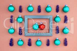 Frame With Two Turquois And Red Ball In Love, Textured Rose Background
