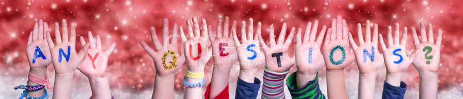Children Hands Building Word Any Questions, Red Christmas Background