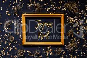 Frame, Golden Glitter Christmas Decoration, Joyeux Noel Means Merry Christmas