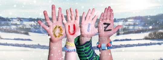Children Hands Building Word Quiz, Snowy Winter Background