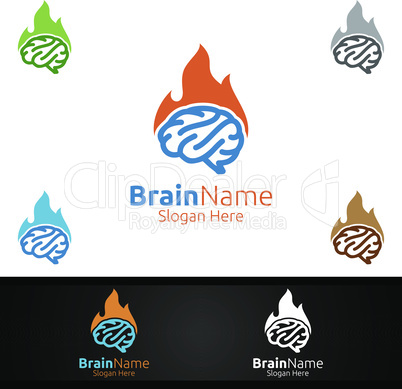 Hot Brain Technology Logo with Think Idea Concept Design