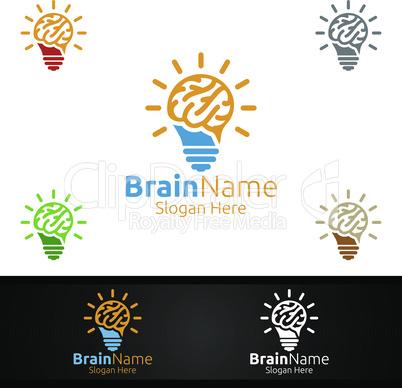 Idea Brain Technology Logo with Think Idea Concept Design