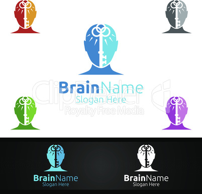 Key Brain Brain Logo with Think Idea Concept Design