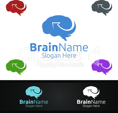 Arrow Brain Logo with Think Idea Concept Design