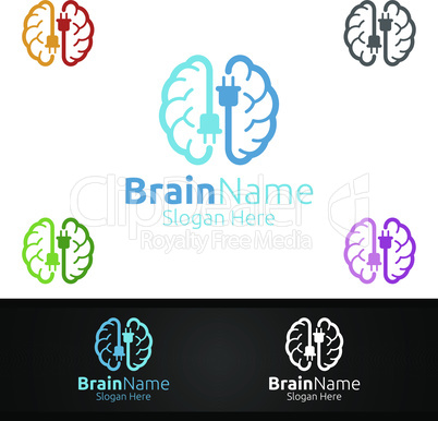 Power Brain Logo with Think Idea Concept Design