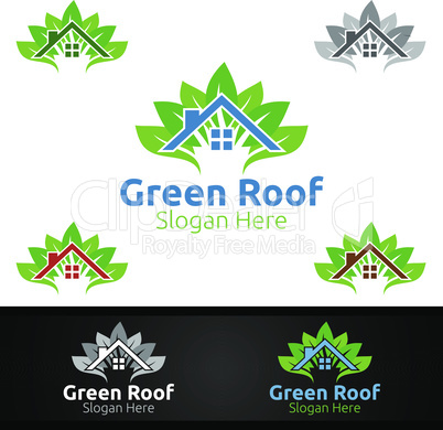 Green Roofing Logo for Property Roof Real Estate or Handyman Architecture