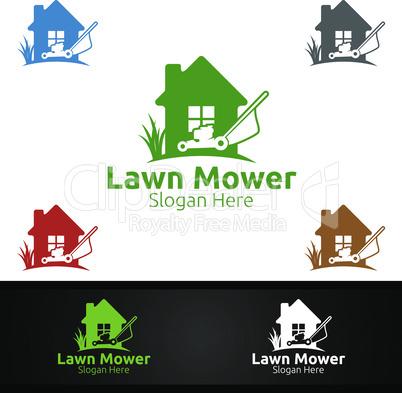 Home Lawn Mower Logo for Lawn Mowing Gardener Design