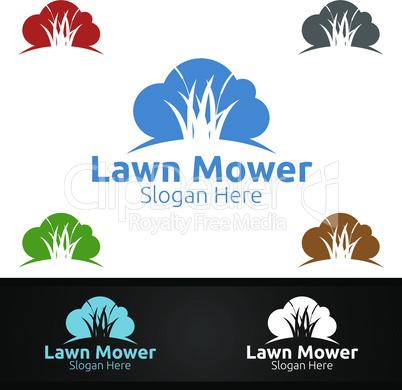 Cloud Lawn Mower Logo for Lawn Mowing Gardener Design