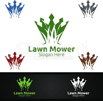 King Lawn Mower Logo for Lawn Mowing Gardener Design