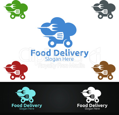 Fast Food Delivery Service Logo for Restaurant, Cafe or Online Catering Delivery