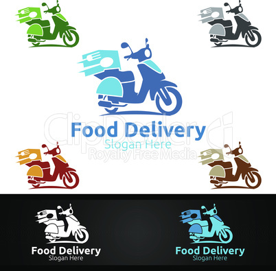 Scooter Fast Food Delivery Service Logo for Restaurant, Cafe or Online Catering Delivery