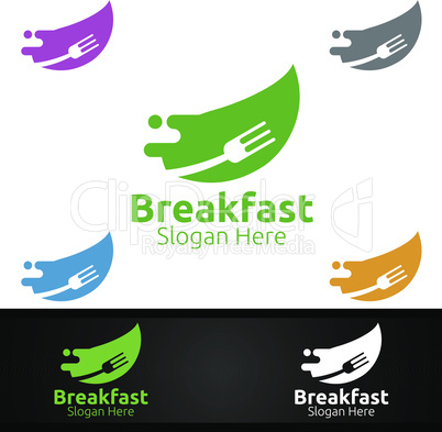 Breakfast Fast Food Delivery Service Logo for Restaurant, Cafe or Online Catering Delivery