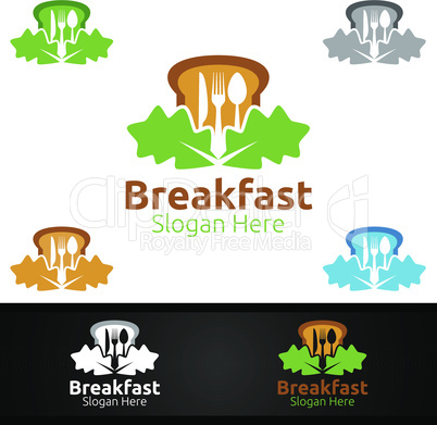 Fast Food Breakfast Delivery Service Logo for Restaurant, Cafe or Online Catering Delivery