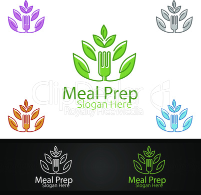 Tree Meal Prep Healthy Food Logo for Restaurant, Cafe or Online Catering Delivery