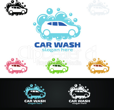 Car wash Logo, with car silhouette and water splash Vector Logo Design
