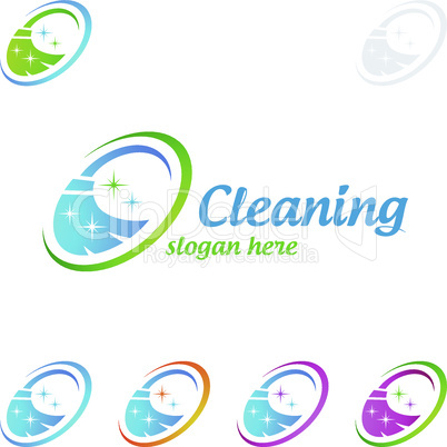 House Cleaning Vector Logo Design, Eco Friendly with shiny glass brush and spray Concept isolated on white Background