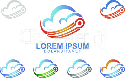 cloud Logo with internet, data , and technology concept