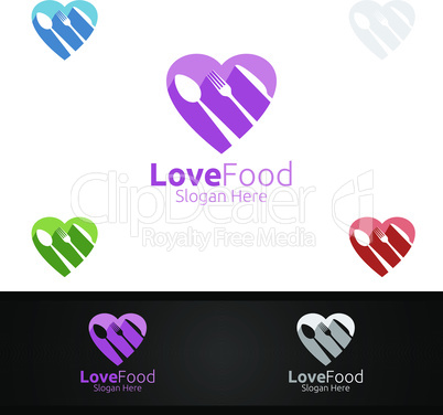 Love Healthy Food Logo Template. Organic Vector Design.for Menu Restaurant or Cafe, Fork, Spoon and leaves Concept
