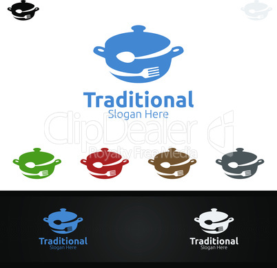 Traditional Food Logo for Restaurant or Cafe
