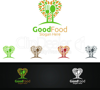 Healthy Food Logo for Restaurant or Cafe