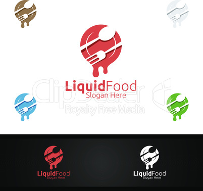 Liquid Food Logo for Restaurant or Cafe