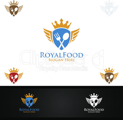 King Food Logo for Restaurant or Cafe