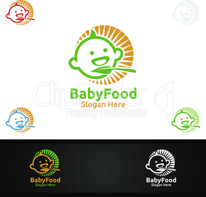 Baby Food Logo for Nutrition or Supplement Concept