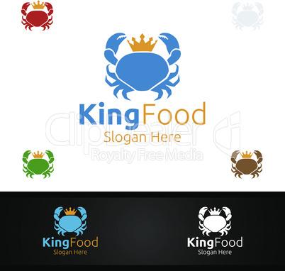 King Crab Seafood Logo for Restaurant or Cafe