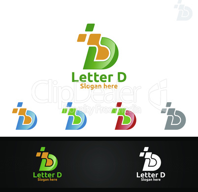 Letter D for Digital Vector Logo, Marketing, Financial, Advisor or Invest Design Icon