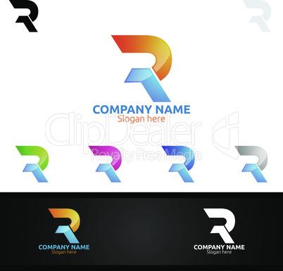 Letter R for Digital Logo, Marketing, Financial, Advisor or Invest Design Icon