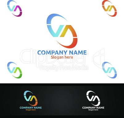 Letter V, A, VA for Digital Logo, Marketing, Financial, Advisor or Invest Design