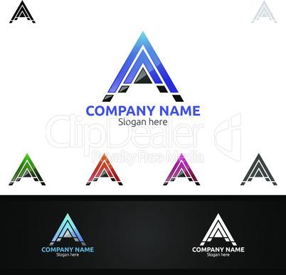 Arrow Letter A for Digital Logo, Marketing, Financial, Advisor or Invest Design Icon