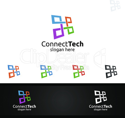 Technology Logo with Wires it and electronic cable, Connection Pixel Mobile Concept