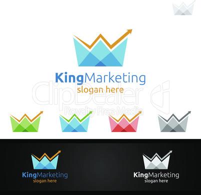 King Marketing Financial Advisor Vector Logo Design Template Icon