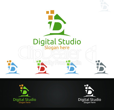 Digital Studio Letter D for Digital Marketing Financial Advisor or Invest Vector Logo Design Icon
