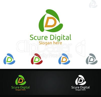 Secure Digital Letter D for Digital Marketing Financial Advisor or Invest Vector Logo Design Icon