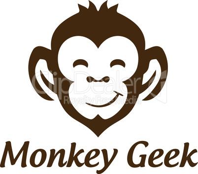 Smile Monkey Geek Vector Logo Design