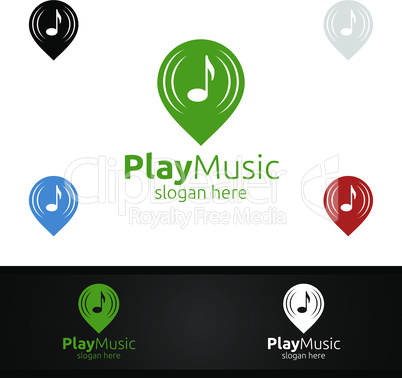 Abstract Music Logo with Pin and Play Concept