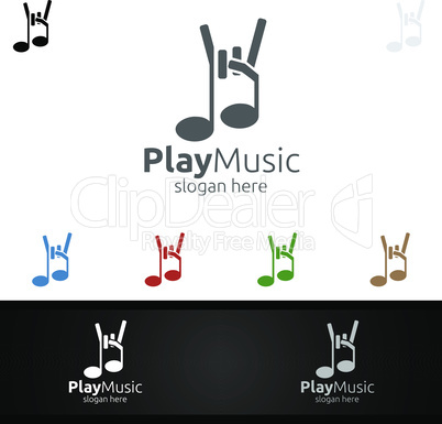 Rock Music Logo with Note and Play Concept