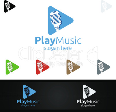 Music Logo with Microphone and Play Concept